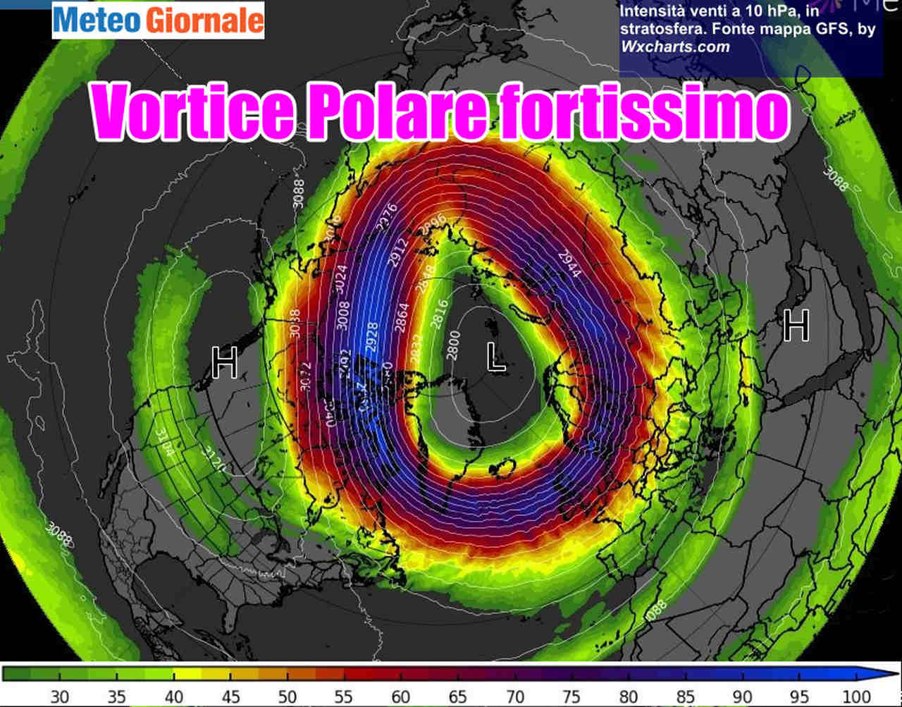 immagine 1 articolo vortice polare da record ao index livelli altissimi