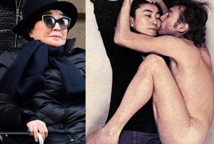 Yoko Ono oggi. A destra, la celebre copertina di Rolling Stone con lei e John Lennon