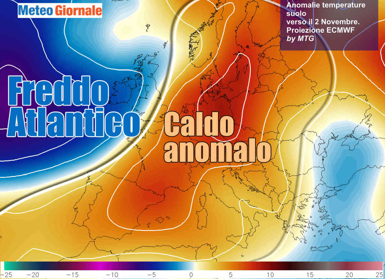 Le anomalie delle temperature in quota ad inizio novembre