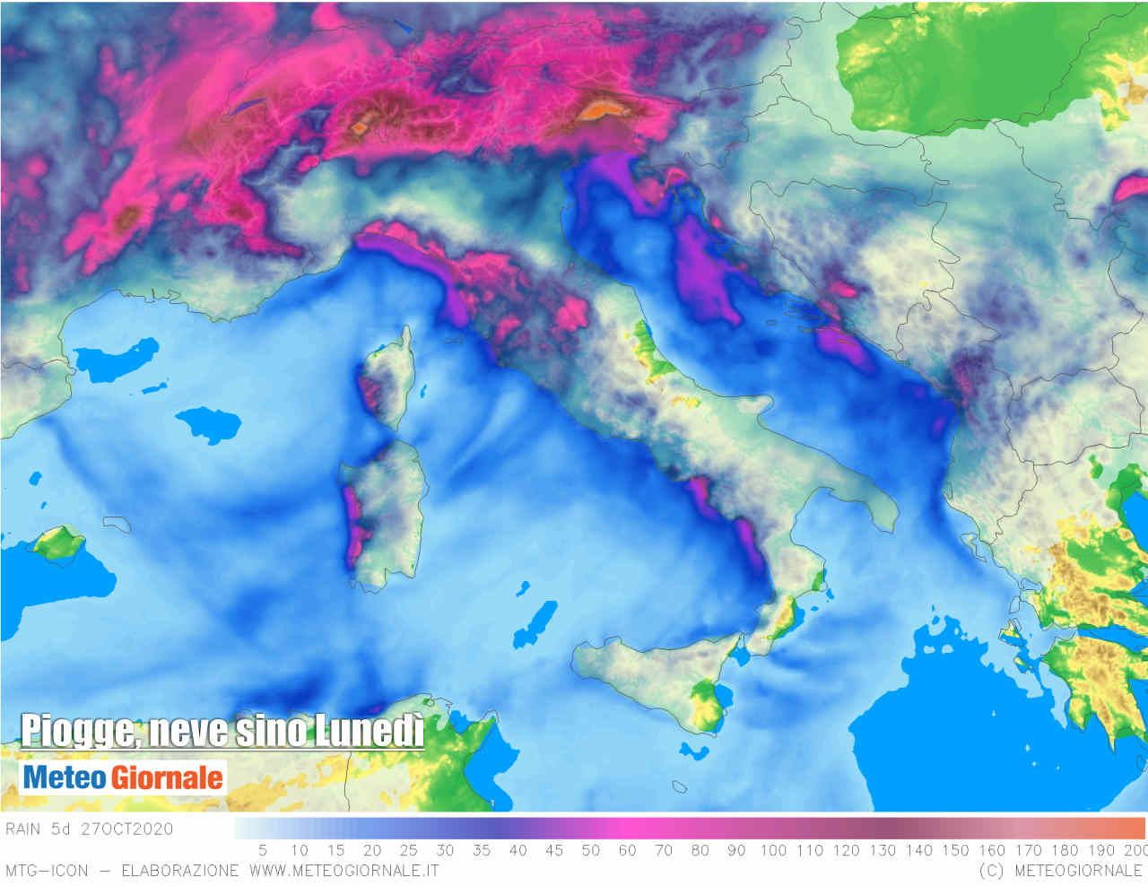 Precipitazioni previste in Italia 5 giorni.
