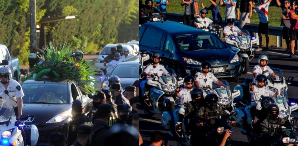 Funerale Maradona: corteo funebre tra striscioni, bandiere e cori