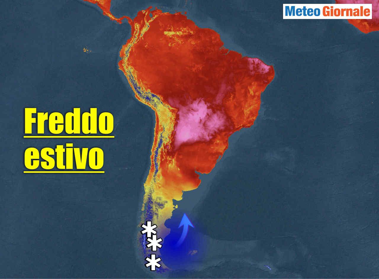 Ondata di freddo estivo in Argentina del sud.
