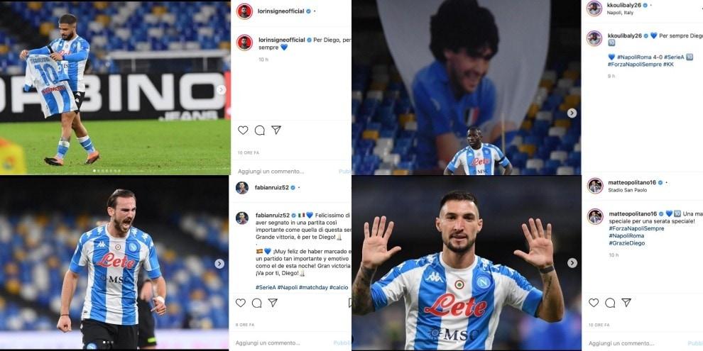 Napoli, 4-0 alla Roma dedicato a Maradona: le reazioni social