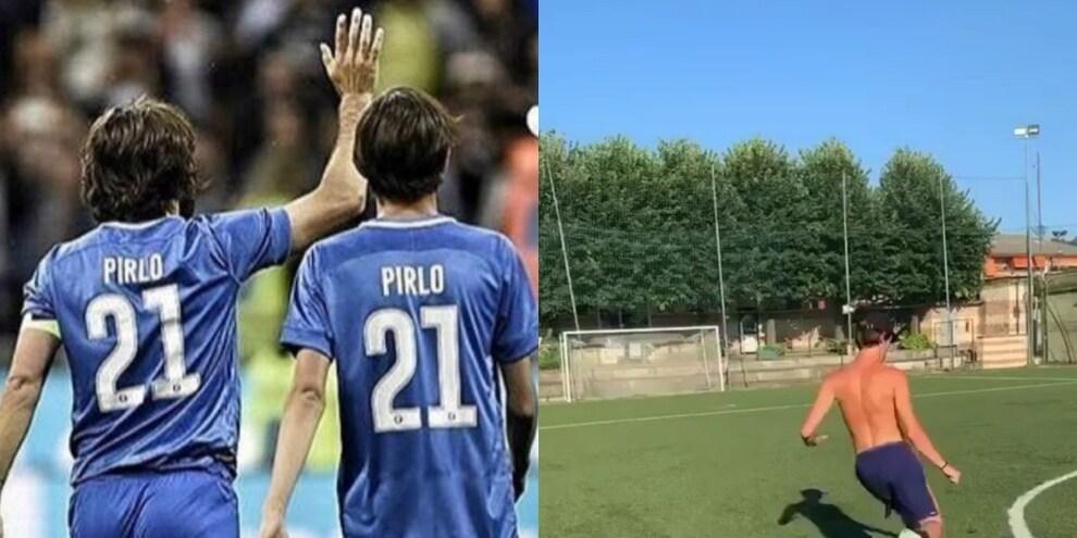 Pirlo jr si allena a battere i calci di punizione: quante somiglianze con il papà!