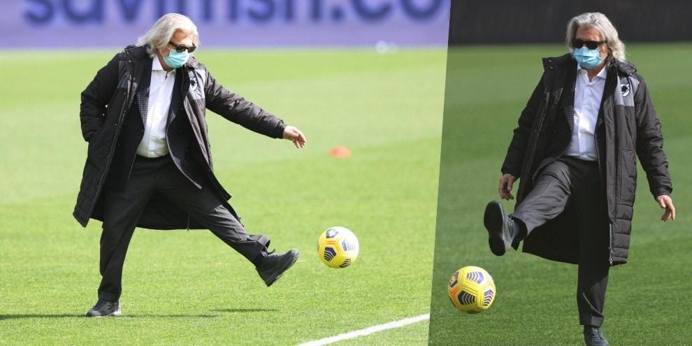 Benevento-Samp, Ferrero palleggia in campo nel pre-partita