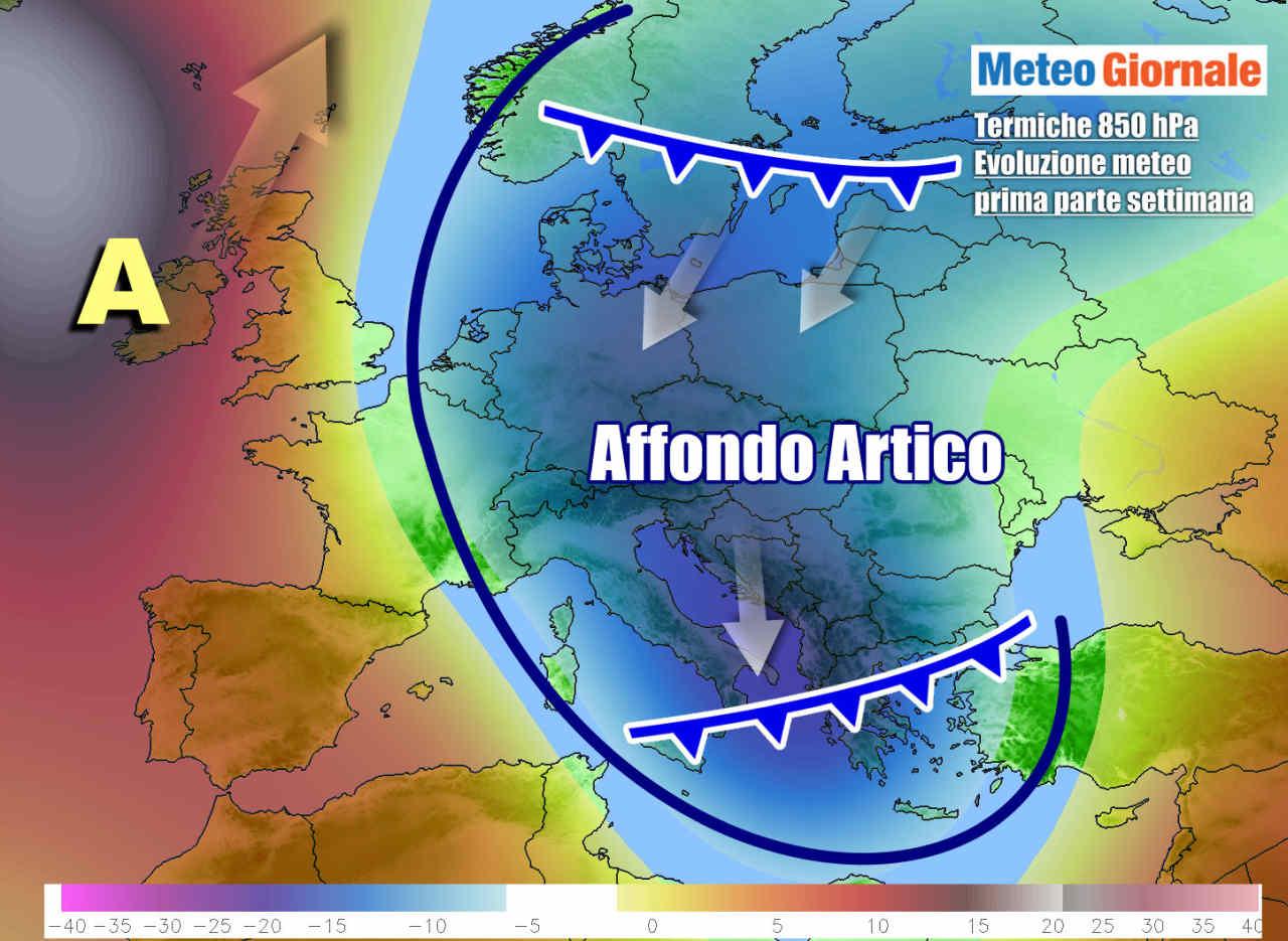 Il flusso artico, diretto anche sull'Italia, nei primi giorni della settimana